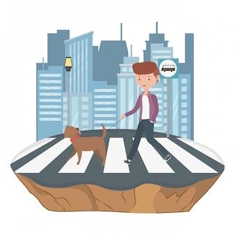 Menino, com, cão, caricatura