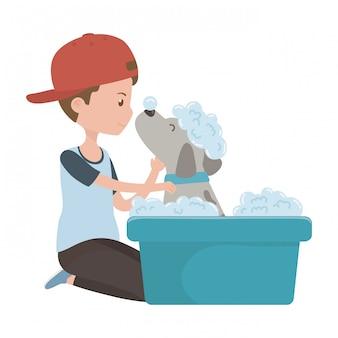 Menino, com, cão, de, caricatura, levando, chuveiro