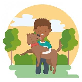Menino, com, cão, de, caricatura