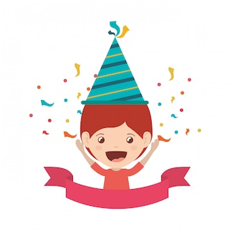 Menino, com, chapéu partido, em, aniversário, celebração