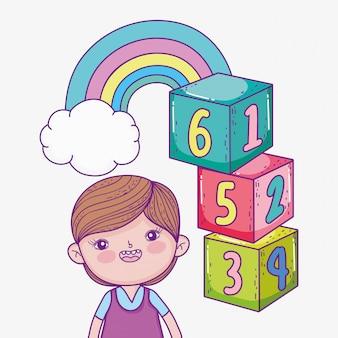 Menino, com, cubos, jogo, e, arco íris, com, nuvem