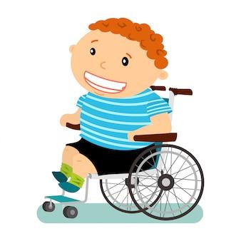 Menino com deficiência em uma ilustração de cadeira de rodas