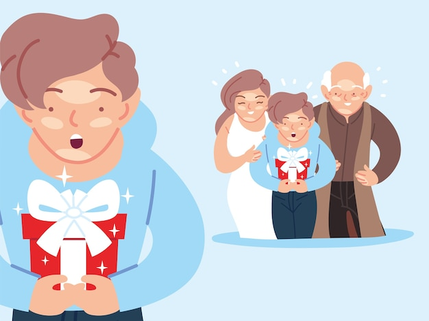 Menino com desenhos animados da mãe e do avô abrindo o presente, festa de decoração de festa de feliz aniversário e ilustração de tema surpresa