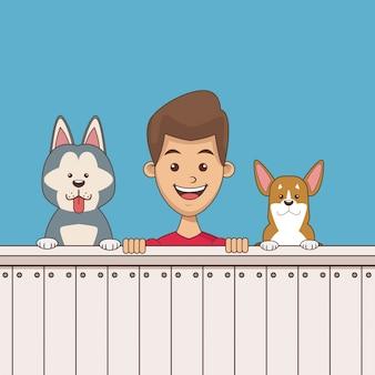 Menino com desenhos animados de animais de estimação