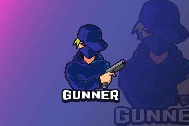 Menino com design de logotipo do esporte e com arma