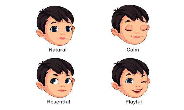Menino com diferentes expressões faciais