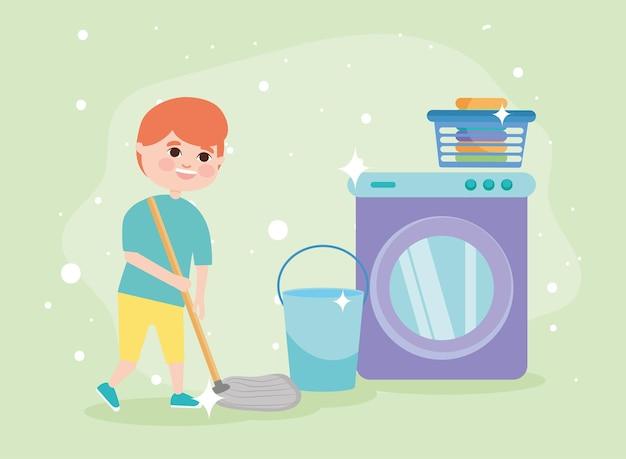 Menino com esfregão, limpeza e suprimentos sobre fundo verde