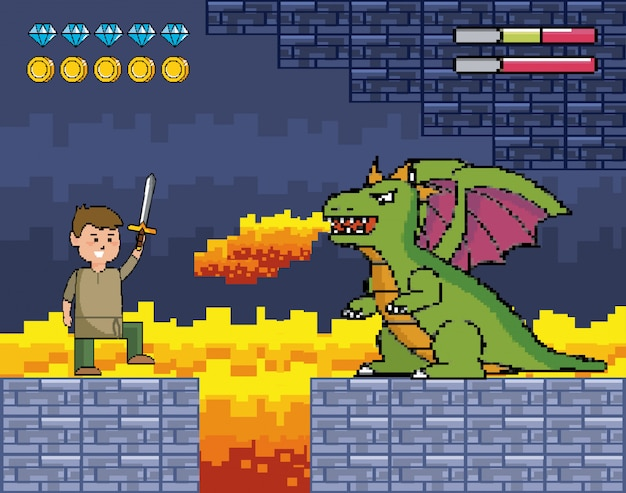 Menino com espada e dragão cospe fogo e barras de vida
