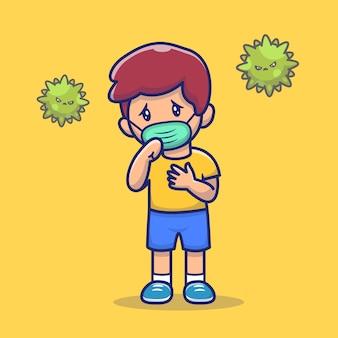 Menino com febre e gripe icon ilustração. corona mascote personagens de desenhos animados. pessoa ícone conceito isolado