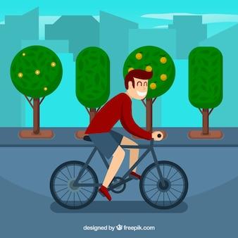 Menino com fundo de bicicleta