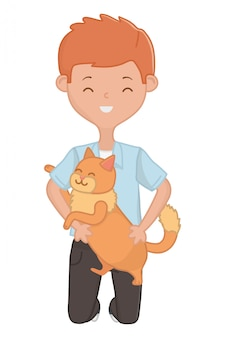 Menino, com, gato, caricatura, desenho