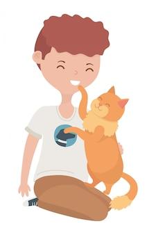 Menino, com, gato, de, caricatura