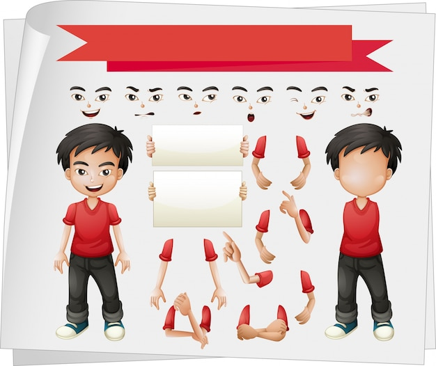 Menino com ilustração de vários conjuntos de faces