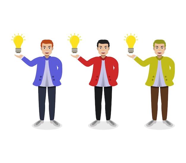 Menino com lâmpada e ideia