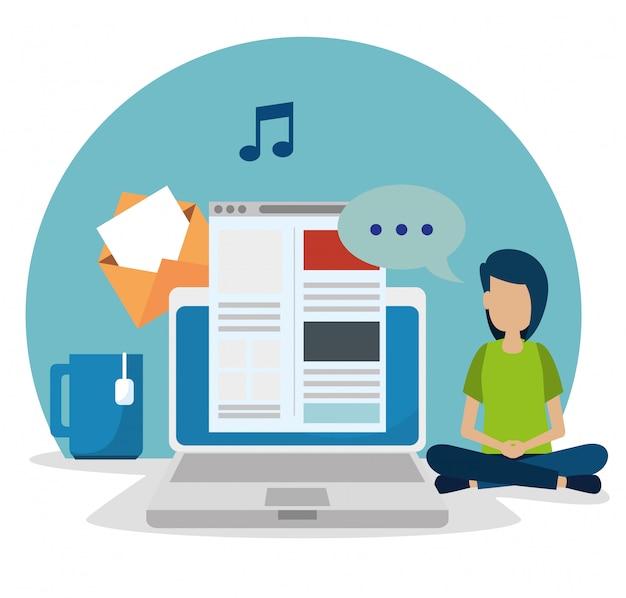 Menino com laptop e site de mídia social