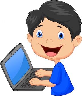 Menino, com, laptop