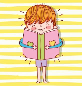 Menino, com, livro, educação, para, evento, celebração