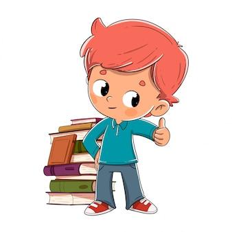 Menino, com, livros, dar, a, ok
