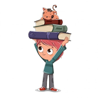 Menino, com, livros, e, um, gato, dormir