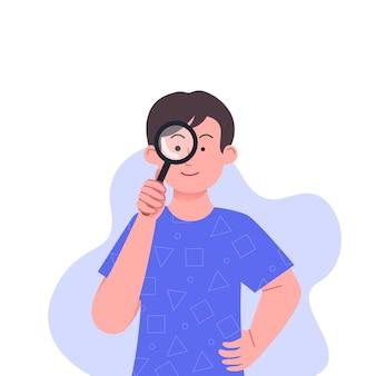 Menino com lupa pesquisando o conceito de ilustração
