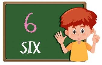 Menino, com, mão, gesto, número