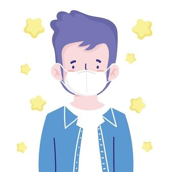 Menino com máscara médica personagem retrato cartoon novo normal