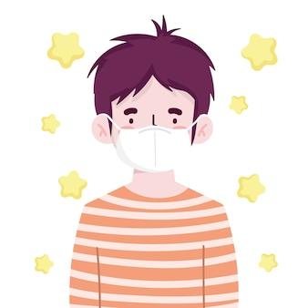Menino com máscara protetora retrato novo normal