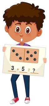 Menino, com, matemática, pergunta