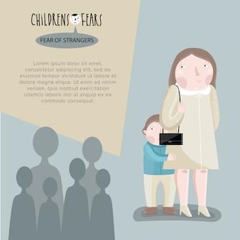 Menino com medo de pessoas com sua mãe