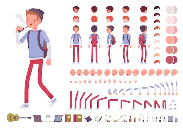 Menino com mochila conjunto de criação de personagens