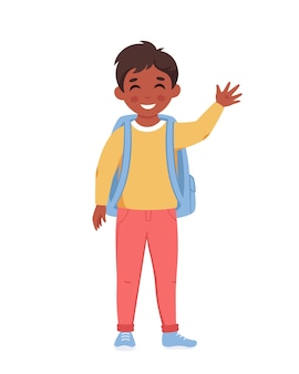 Menino com mochila indo para a escola menino sorrindo e acenando com a mão