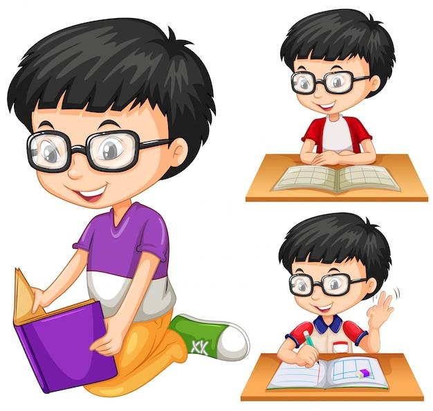 Menino, com, óculos, livro leitura