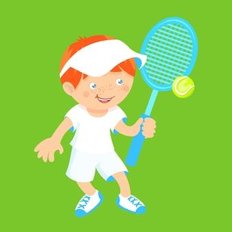 Menino com raquete de badminton