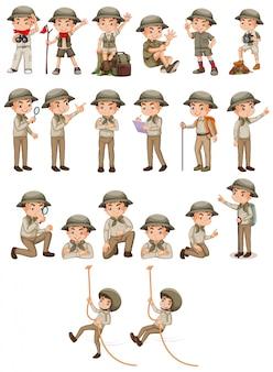 Menino com roupa de safari fazendo atividades diferentes em branco