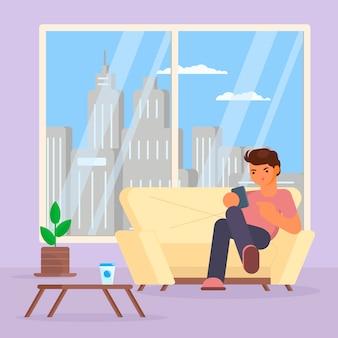 Menino com smartphone na ilustração do sofá