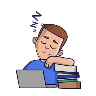Menino com sono com os olhos fechados na frente dos livros. ilustração em um backgroud branco. imagem de desenho animado.