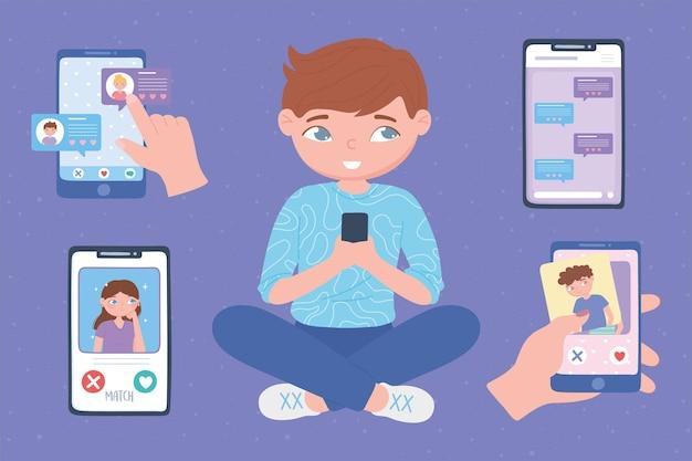 Menino com telefone celular, usando aplicativos de namoro