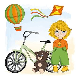 Menino, com, um, bicicleta
