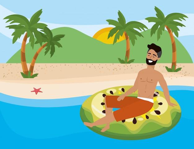Menino, com, verão, swimwear