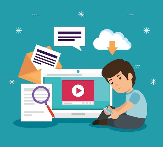 Menino com vídeo de tecnologia portátil para estudo de educação