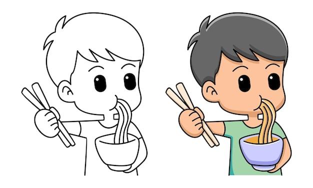 Menino come macarrão para colorir para crianças