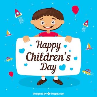 Menino comemorando o dia das crianças