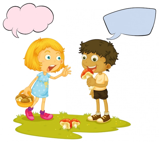 Menino, comer, cogumelo, balão fala