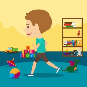 Menino corre em volta de brinquedos no jardim de infância