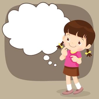 Menino crianças, ficar, pensando, ações