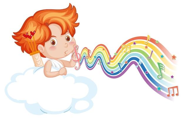 Menino cupido na nuvem com símbolos de melodia na onda do arco-íris