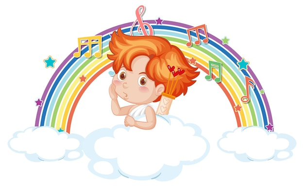 Menino cupido na nuvem com símbolos de melodia no arco-íris