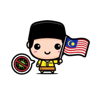 Menino da malásia com bandeira contra vírus