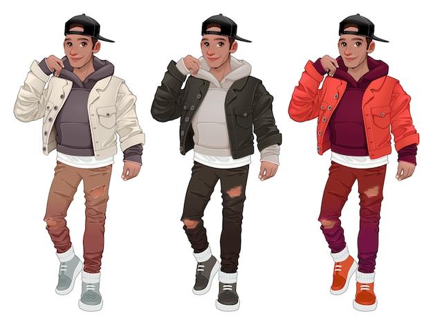 Menino da moda em três versões diferentes