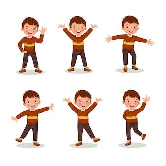 Menino de ação posa com diferentes gestos de mãos e pernas, como acenar e levantar a mão